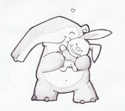 Tapir with an awesome bunny plush